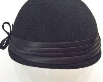 Black Vintage Cloche Style Hat