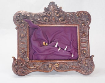 Dragon 3D Leather Framed Art Portrait Purple Leather