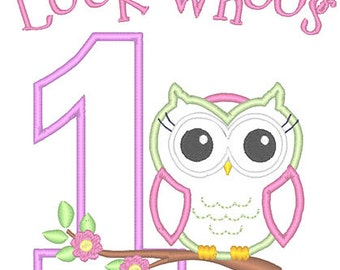 Whoo's One Applique Embroidery Design - Instant Download