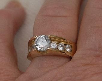2.37tcw.Genuine White Sapphire Engagement or Wedding Ring