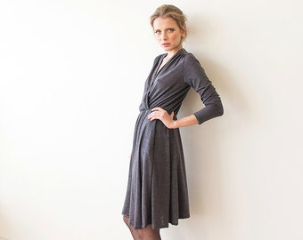 Knitted grey wrap dress, Knit winter dress with long sleeves