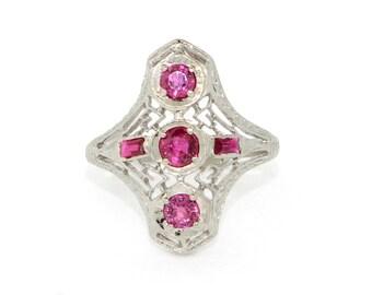 Antique Ring - Art Deco Ring - Antique Art Deco Ruby Ring