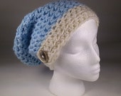 Soft Crocheted Slouchy Hat Chemo Cap, Adult, Teen Sized Blue & Natural