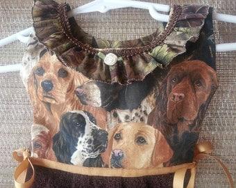 Hunting Dogs Camo brown Ruffled Towel Oven Door Kitchen Dress Towel