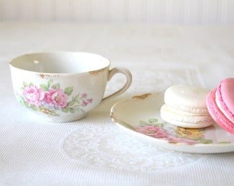 Antique Warwick Pottery Tea Cup and Saucer Duo Cottage Style Tea Party Little Princess Birthday Party - c. 1867 - 1951