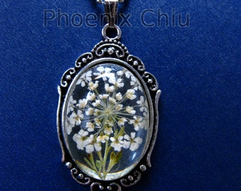 White Pressed Flower Necklace Queen Anne's Lace Jewelry Vintage Victorian Antique Silver Statement Eco Resin Pendant