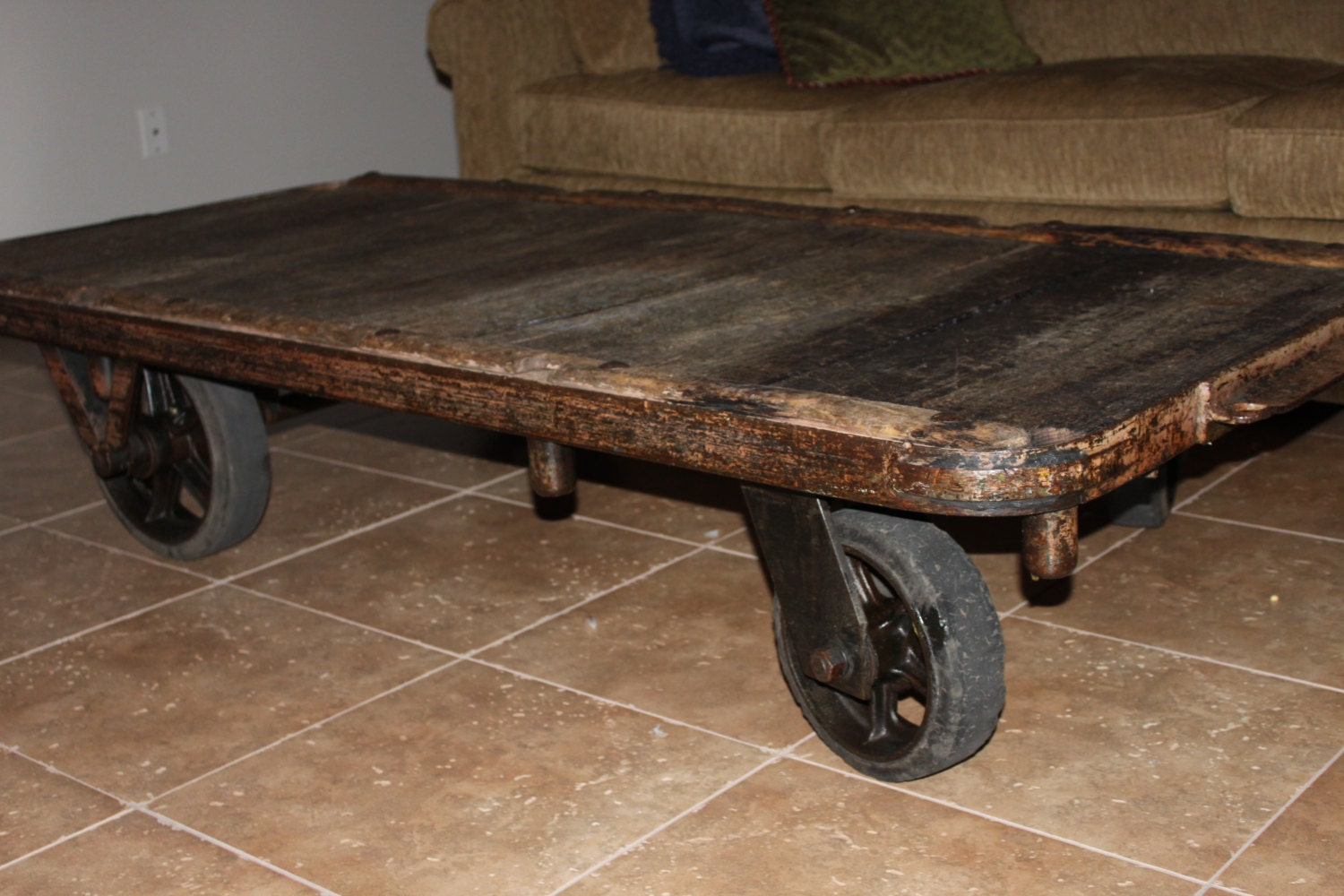 Vintage 1950s Industrial Cart Coffee Table By Riverratantiques