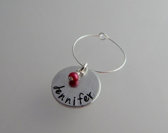 Hand Stamped Personalized Custom Wine Charm with Name and Crystal Pearl / Bridal Shower / Wedding Party / Party Favors / Wedding Favors