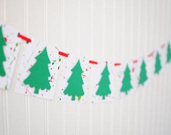 Paint Splatter Christmas Tree Banner