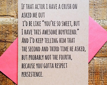 "Funny Valentine's ""Actor Crush"" Love Anniversary Wedding Letterpress"