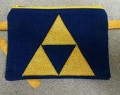 Legend of Zelda Triforce Applique Wristlet or Cell Phone Case Navy Blue