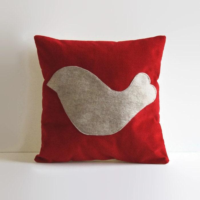 bird pillow cover // red corduroy pillow // 12 X 12 pillow