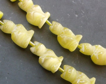 Limited Stock pkg of (2) - Spring Yellow Carved Cat Beads - cat's eye - 20mm x 11mm