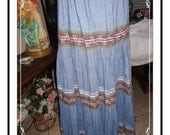 Blue Maxi Skirt -  Vintage Long Full Swing Skirt with Colorful Rick Rack Patterns - CLO-054a-110813001