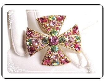 Maltese Cross Brooch - Signed Regency - Rose Pinks AB Blues   Pin-1366a-102911035