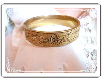 Etruscan Hinged Bracelet - Vintage Goldtone Bangle  Early 1900's Brac-1109a-022312000