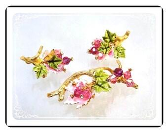 Vintage Vendome  Demi - Enamel Pink Bead Flower Brooch & Earrings Set - demi-1615a-022313020