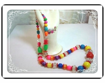 Candy Bead Necklace - Long Bead Plastic Glass in Bright Bold Colors   Neck-1236a-012312000