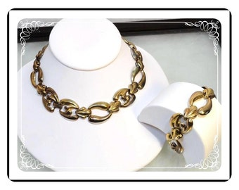 Comet Chain Necklace Set - Funky Chunky Comet Chain Necklace / Bracelet Set - gold tone - Demi-1721a-121012000