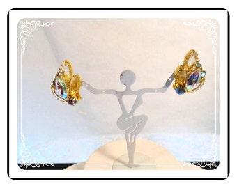 Aurora Borealis Clip-on Earrings - Vintage Glitz for the Ears - E530a-040812000