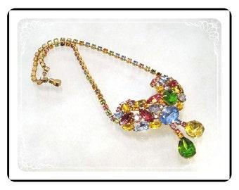 Vintage Rhinestone Necklace   -  Big Bold Pastel Colors    Neck-1731a-121012000