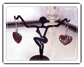 Heart Shaped Earrings - Vintage Rockabilly Pierced   -  E282a-072313000
