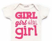 "Screen Printed ""Girl"" Organic Baby Bodysuit Fluorescent Pink Newborn Baby Shower Gift/ Hip/ Modern/ Birth Announcement/ Typography Fun Words"