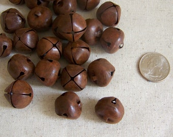 Primitive 20mm Rusty Jingle Bells 24 Count