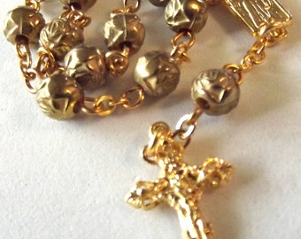 Gold-Tone Roses One-Decade Rosary