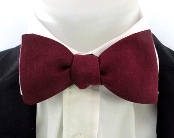 Burgundy Linen Bowtie ~ for  men ~ wedding bowtie ~ made by Just Bowties