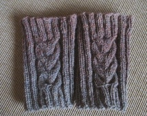 SALE 50% Grey Brown Ombre hand knitted Leg Warmers Cable knitted leg warmers - boot cuffs
