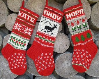 FOR 2017!Christmas Stocking Knit Wool Medium Personalized Deer Gnomes Trees Snowflakes ornaments Gray Green Red White Decoration Gift