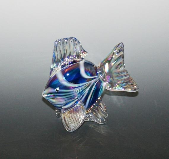 Hand blown glass fish sculpture aqua blue tropical fish for Blown glass fish