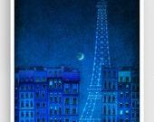 Paris illustration - The lights of the Eiffel tower - Fine art illustration Paris art print Art Posters Paris art Paris decor Large wall art