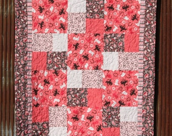 Adorable Cowgirl, Baby/ Toddler Quilt with Pink and Brown Paisley, Stars, Horseshoes and more- Ready to Ship!