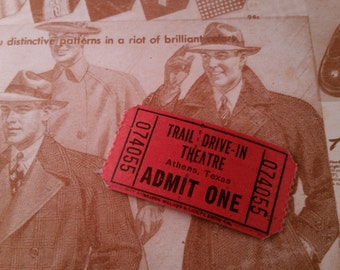 24 Vintage Trail Drive-in Movie Theatre Tickets Ephemera Ticket Lot Texas Theater Red Cinema Admit One Athens