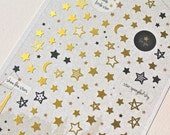 Star Stickers - Golden Stars Stickers - Moon Sticker -Korean Stickers - Korean Stationery - 1 sheet