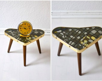 Vintage tripod heart shaped coffee table flower table kidney Formica Mid-Century Modern 60s GDR Eastern Germany
