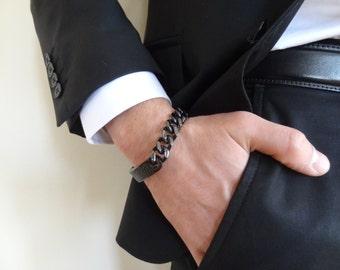 Men's Black Leather STAINLESS STEEL Bracelet, Men's Jewelry, Black Thick Chain Bracelet, Groom Bracelets , Groom Gift, Wedding Gifts