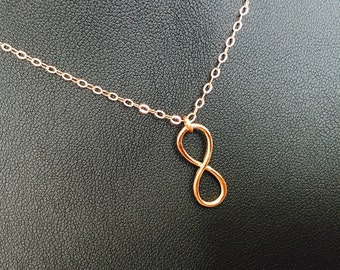 Rose Gold Infinity Necklace , Eternity Dainty Infinity Sterling Jewelry