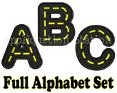 Full Road Alphabet Set Applique Machine Embroidery Design boy construction vehicle car truck INSTANT DOWNLOAD