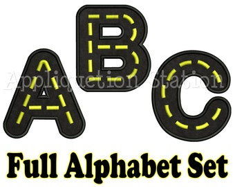 Full Road Alphabet Set Applique Machine Embroidery Design boy construction traffic vehicle car truck INSTANT DOWNLOAD