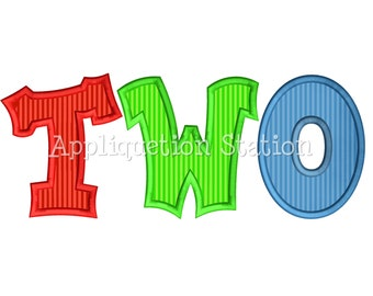Number TWO Birthday Applique Machine Embroidery Design mutli color boy girl second 2nd INSTANT DOWNLOAD