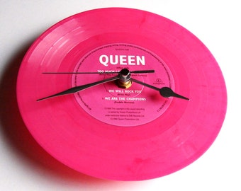 "QUEEN Vinyl Record CLOCK ""Too Much Love Will Kill You"" 7"" single.  Hot Pink coloured vinyl  We Will Rock You"