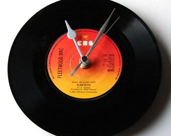 "FLEETWOOD MAC Vinyl Record CLOCK  ""Albatross"" Made from an original recycled vinyl record single. Retro gift for women men guys girls"