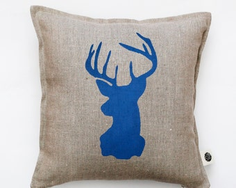 Reindeer head pillow cover - gray linen - decorative cushion covers -  blue deer head   0132
