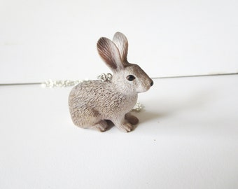 Bunny Necklace -sterling silver Rabbit Charm  with  Free  gift