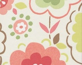 Home Decor Dreapery Bedding Upholstery Fabric Ritzy Watermelon Floral Coral Flowers Green Floral