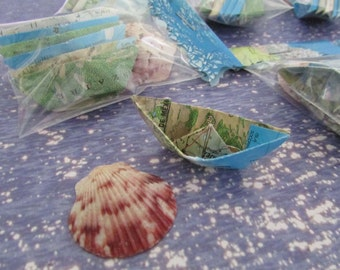 paper boat origami 36 boats with sea shell decoration nautical theme ocean party favor maps atlas bridal favor beach wedding