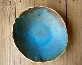 Ceramic Organic Turquoise Green Salad Bowl, Fruit Bowl- Made to Order